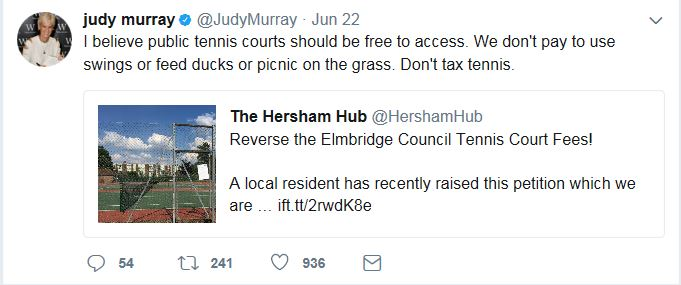 Judy Murray's tweet arguing for free access to tennis courts