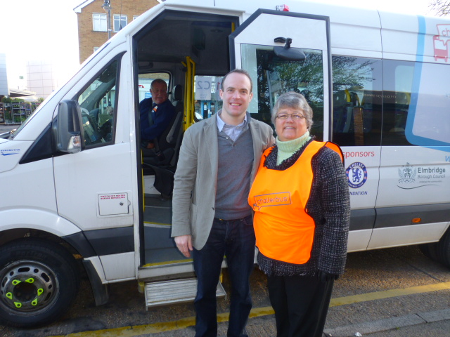 Mary with Dominic Raab MP on the first day of the new Chatterbus Service in the Cobham area
