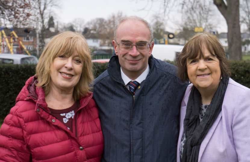 John O'Reilly pictured with Ruth Mitchell (left) and Cllr Mary Sheldon (right)
