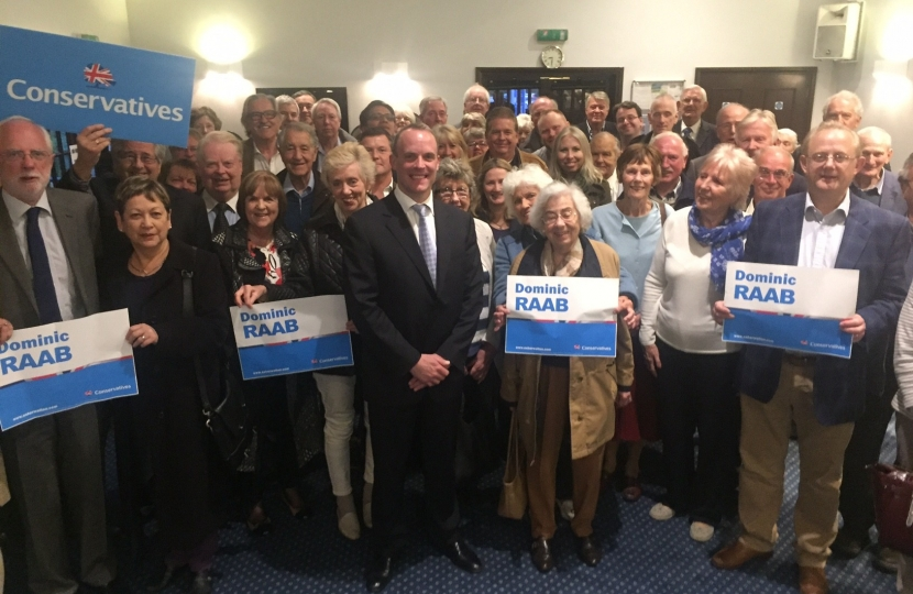 Dominic Raab with local Conservative party members at his re-selection
