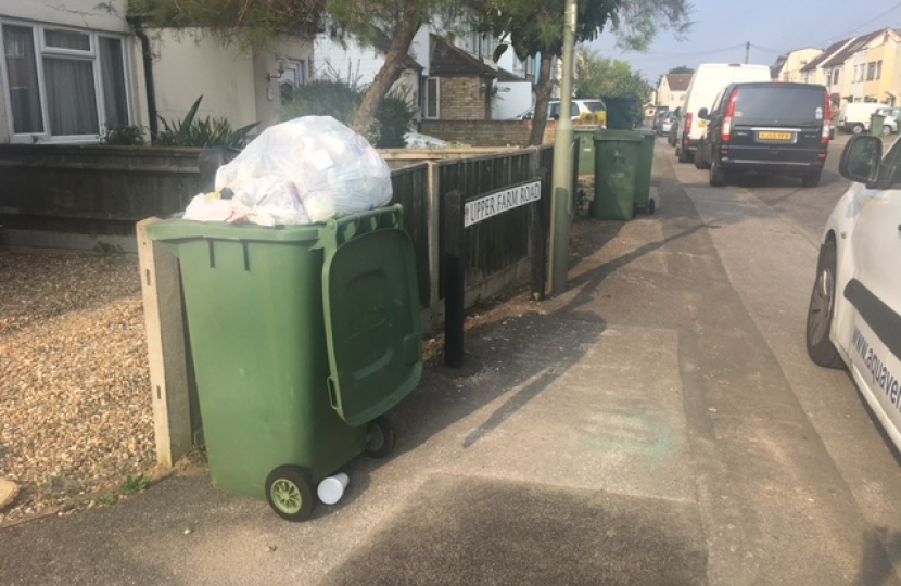 An overflowing bin in Upper Farm Road, West Molesey