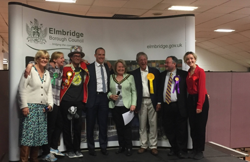 Dominic Raab (centre) with fellow candidates and Elmbridge Mayor Rachael Lake