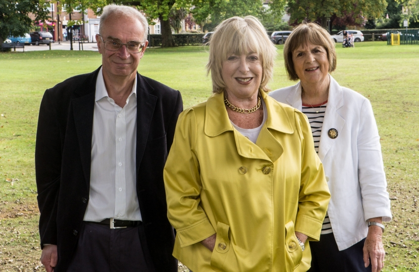 Hersham county councillor John O'Reilly, Ruth Mitchell and Cllr Mary Sheldon