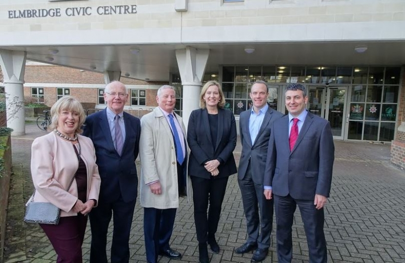 Ruth Mitchell, David Munro, Simon Waugh, Home Secretary Amber Rudd, Dominic Raab MP and Steve Bax