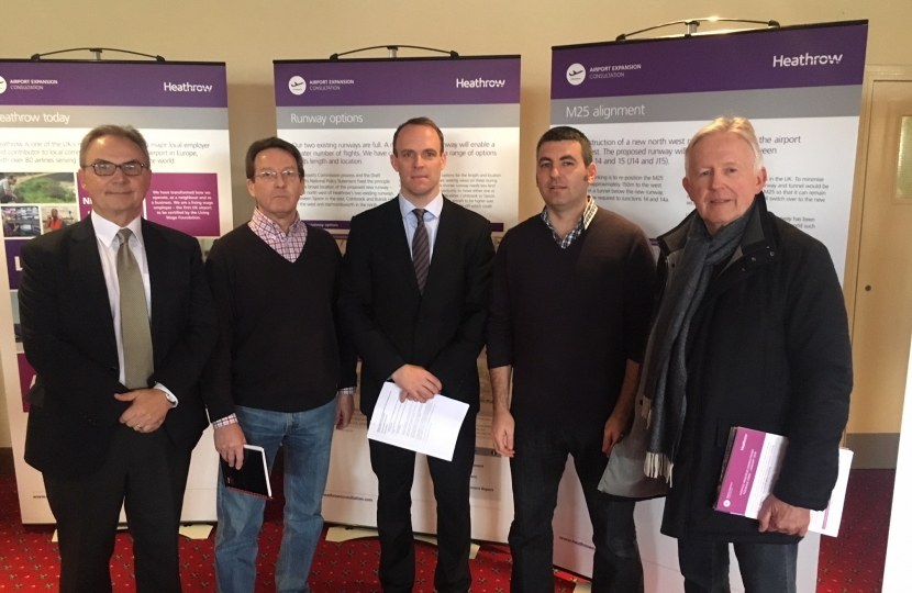 L-R East Molesey county councillor Peter Szanto, Paul Wood, Dominic Raab MP, Steve Bax and Terence Alexander