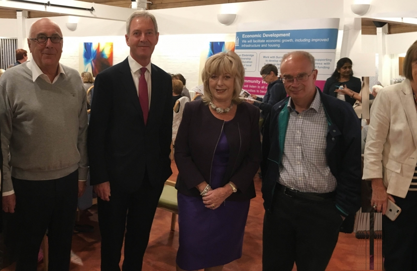 Pictured at the meeting (l-r): Weybridge St George's Hill councillor Ian Donaldson, Council Leader Tim Oliver, Hersham's Ruth Mitchell, John O'Reilly and Mary Sheldon, and Oatlands' Cllr Barry Cheyne
