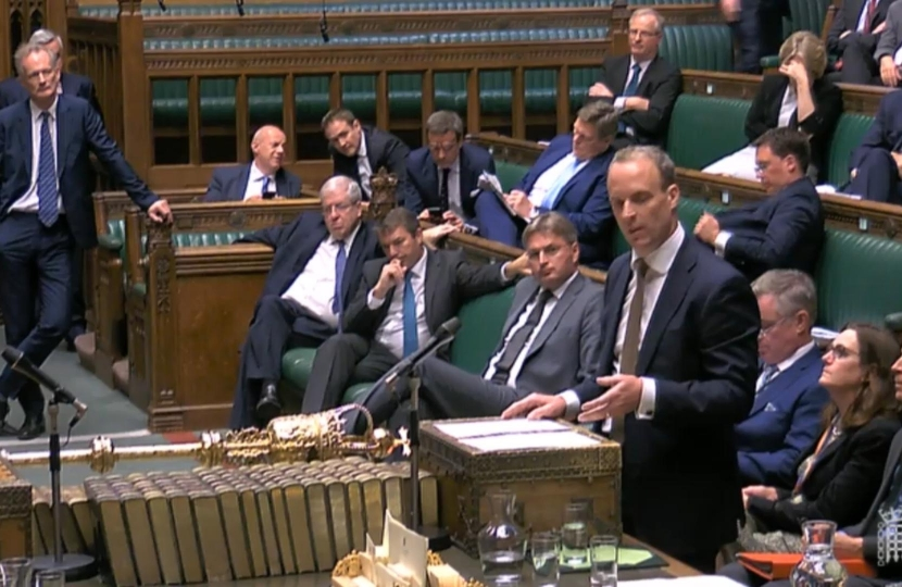 Dom takes questions at the despatch box as Foreign Secretary