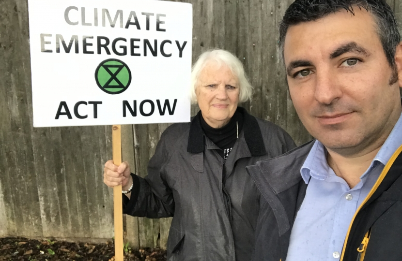 Climate Change campaigner Christine Crispin with Cllr Steve Bax