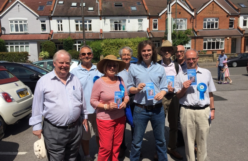 Hugh Evans and Conservative councillors canvassing in Long Ditton