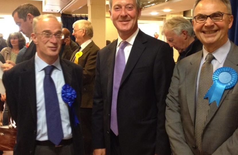 Cllrs John O'Reilly and Tim Oliver with newly elected Peter Szanto
