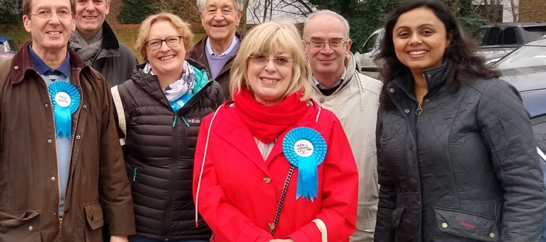 Ruth Mitchell (centre) with Conservative campaigners