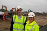 Cllrs Andrew Kelly and Rachael Lake at Waterside Drive in Walton